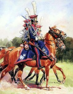 FRANCE - Chevaulegers Regiment 1 uniforms paradnych r. Mexican American War, American Civil War, Military Art, Military History, Military Uniforms, Napoleon French, French Pictures, Seven Years' War, British Soldier