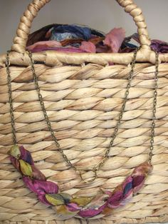 Check out this item in my Etsy shop https://www.etsy.com/listing/216089429/fairtrade-sari-silk-necklace-twisted