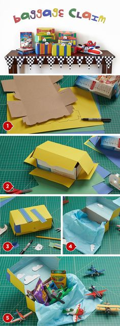 Baggage Favor Boxes - 12 Disney Planes #Party Ideas #DIY #crafts http://www.surfandsunshine.com/disney-planes-party-ideas/