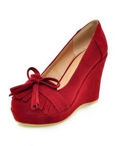 Vintage Red Suede Wedge Shoes  My Sister would love these!! -MK