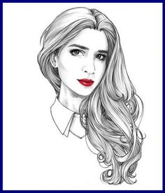 Lainy Hwa Hwa Alspach Spivey Alexandra Hedaya by Alex Tang Hair Illustration, Illustration Sketches, Frida Art, Hair Sketch, Woman Sketch, Beautiful Sketches, Pencil Art Drawings, How To Draw Hair, Fashion Sketches