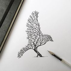 In his newest series of illustrations, Alfred Basha represents a series of images where animals blend with the natural world: trees sprout into the silhouettes of foxes or squirrels, and a forest landscape rests atop a clumsy bear. Basha posts his sketches and completed drawings on Facebook. via Fubiz