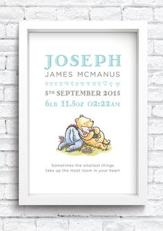 Personalised Winnie the Pooh Birth Details by MuckyPupDesign