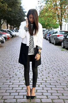 black and white, two toned jacket, patterned sweater, shoes