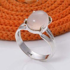 925 STERLING SILVER NEW STONE ROSE QUARTZ FANCY RING 3.86g DJR5031 #Handmade #Ring