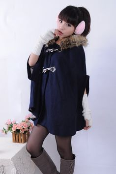 Girl's Campus Style Fashion Hooded Poncho Coat