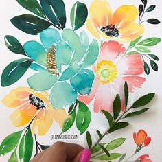 """2,450 Likes, 21 Comments - Jeannie Dickson (@honeybopsdesigns) on Instagram: """"Inspired by nature ✍️ @mijello_mission + @danielsmithproducts watercolor + @cansonpaper…"""""""