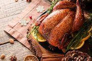 Roast chicken or turkey for Christmas Dinner and New Year with mulled wine and Christmas decorations, space for text, selective focus Bartlett Pears, Baked Turkey, Weekly Specials, Christmas Cocktails, Mulled Wine, Roast Chicken, Favorite Recipes, Baking, Dinner