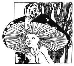 Mushroom Girl by mpjawka on DeviantArt Arte Peculiar, Arte Dope, Posca Art, Arte Sketchbook, Hippie Art, Wow Art, Weird Art, Weird Drawings, Psychedelic Art