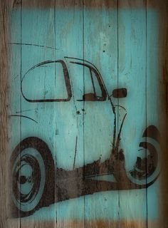Stencil Vw on panel