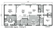 Rose Bud floor plans.  A 3 bed/2 bath modular home available at homesbyvanderbuilt.com.