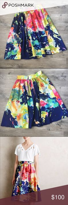 Anthropologie Fauvism MIDI Skirt Gorgeous skirt with a full, midi silhouette; woven polyester, spandex. Front pockets. Back zip. Excellent condition. Anthropologie Skirts Midi