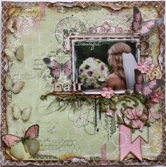 Scrapbook page made by Bo Bunny design team member Gabrielle Pollacco using new Primrose collection papers, embellishments, Washi Tape and Stamps.