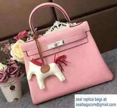 Hermes Kelly 28cm/32cm Bag in Original Togo Leather Pink