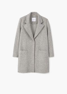 Textured wool-blend coat | MANGO