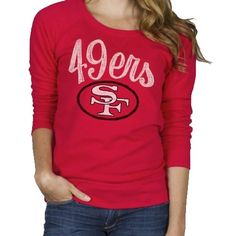 Junk Food San Francisco 49ers  Ladies Field Goal Fleece Sweatshirt - Scarlet