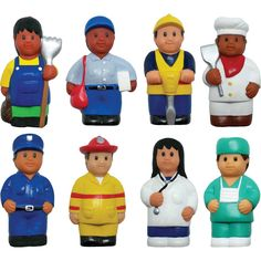 Set of 8 chunky multicultural community helper figures are soft and friendly. The characters help children learn about health, safety and community through creative play. Teaching Supplies, Kids Around The World, Fun Arts And Crafts, Community Helpers, Class Projects, Creative Play, Early Childhood, Kids Learning, How To Memorize Things