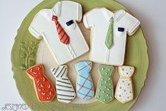 Shirt and tie sugar cookies Man Cookies, Cute Cookies, Fondant Cookies, Royal Icing Cookies, Fathers Day Cupcakes, Bolacha Cookies, Pioneer School Gifts, Cookie Baskets, Royal Icing Sugar