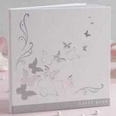 Gästebuch flutter by weiß mit silbernen Schmetterlingen