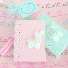 Baby Keepsake: Thanks for Strolling By Baby Carriage Notebook Gift Set - Pink