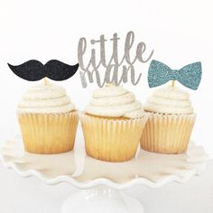 Little Man Cupcake Toppers / Boy First Birthday Party Decor / Mustache Bash Party Theme / Little Mister 1st Birthday / One / Dessert Table