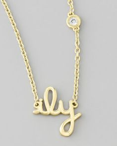 ILY Pendant Necklace with Diamond by SHY by Sydney Evan at Neiman Marcus.