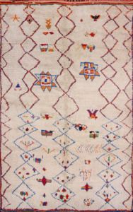 """Hand Knotted Vintage Moroccan Berber rug 5' 3"""" x 8' 8"""" Multi by NuLOOM"""