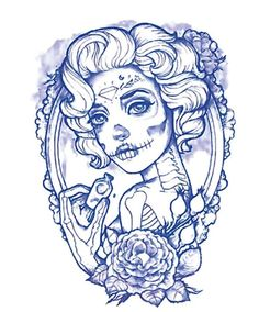 POSION sugar SKULL lady temporary tattoo.