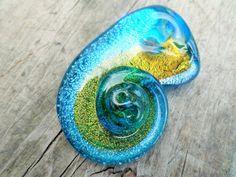 Glass Lampwork Shell Pendant Bead 45mm by BeadingonaBudget on Etsy