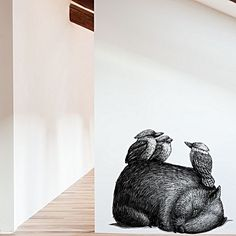 Enchanting Australiana style exudes from the drawn designs of the Renee Treml Wombat With 3 Kookas Wall Decal from Little Sticker Boy.