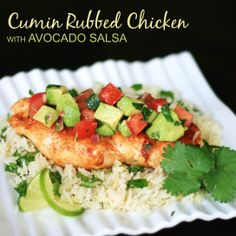 Cumin Rubbed Chicken with Avocado Salsa - the perfect summer meal! So light and refreshing!  #avoallstars