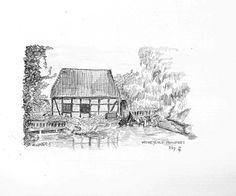 Wassermühle Munsters - Bleistiftzeichnung - 2/97   ©Manfred Cremer, Bensberg, DE