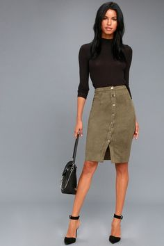 a7db1d1eb250 Rigby Olive Green Suede Button-Up Pencil Skirt