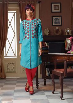 Shop Sky Blue Poly Linen Designer Readymade Kurti 63924 online at best price from vast collection of designer kurti at Indianclothstore.com.