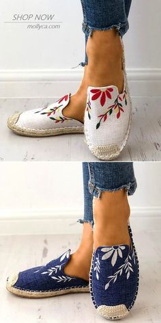 Fashion Embroidered Espadrille Flat Slippers Mode bestickte Espadrille flache Hausschuhe The post Mode bestickte Espadrille flache Hausschuhe & Schuhe appeared first on Shoes . Cute Shoes, Women's Shoes, Me Too Shoes, Shoe Boots, Flat Shoes, Converse Shoes, Strappy Shoes, Calf Boots, Platform Shoes