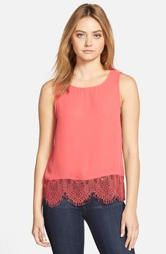 cupcakes and cashmere 'Sierra' Lace Trim Tank | Nordstrom