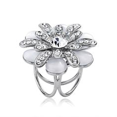Shop for fashion scarf ring, OKA Jewelry Rhinestone Flower Scarf Ring Silver Opal Flower Scarf Ring Trio Holders Flower Scarf Ring