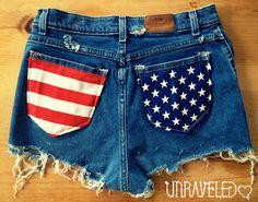 HighWaisted Shorts American Flag Size MEDIUM by UnraveledClothing