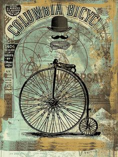 Penny Farthing with mustache. Perfect for the study! Ollie's Easels: A Beautiful Way to be Organized www.olliescornerstore.com Decoupage Vintage, Decoupage Paper, Vintage Paper, Vintage Art, Vintage Labels, Vintage Ephemera, Vintage Postcards, Steampunk Cards, Arte Steampunk