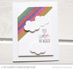 Rainbow of Happiness, Mini Hexagon Background, Inside & Out Stitched Rectangle STAX Die-namics, Lucky Die-namics - Kimberly Crawford  #mftstamps