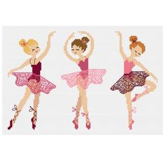 Ballet Girls - Durene J Cross Stitch Pattern - - A cross stitch chart three beautiful ballet girls. Cross Stitch Baby, Counted Cross Stitch Patterns, Cross Stitch Charts, Cross Stitch Designs, Cross Stitch Embroidery, Ballet Girls, Back Stitch, Le Point, Cross Stitching