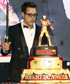 "Robert Downey Jr.'s Iron Man 3 birthday cake (in Seoul, South Korea on the ""IM3"" press tour)."