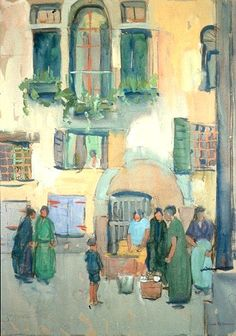 """Venice,"" Jane Peterson, ca. 1920, gouache on paper, 	23-5/8 x 17-12"", private collection."