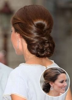 Kate Middleton – Perfectly Pulled Together. Volume at the crown and a braided back make this a sleek selection fit for a princess. Wedding Hairstyles, Celebrity Hairstyles