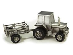 Sculpta Pewter Tractor with Trailer Bank