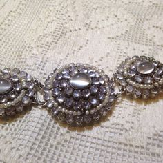 Sterling silver moonstone and pearl collar choker necklace. by NemesisNYC on Etsy