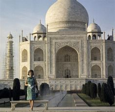 First Lady Jacqueline Kennedy at the Taj Mahal, Agra, India on 15 March 1962.