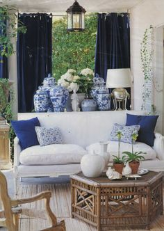 Blue and White Chinese Porcelain Vases in living room