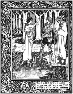 Aubrey Beardsley - Illustration - Art Nouveau  - The Lady of the Lake.,