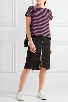 Sacai | Dixie grosgrain-trimmed striped cotton-jersey T-shirt | NET-A-PORTER.COM